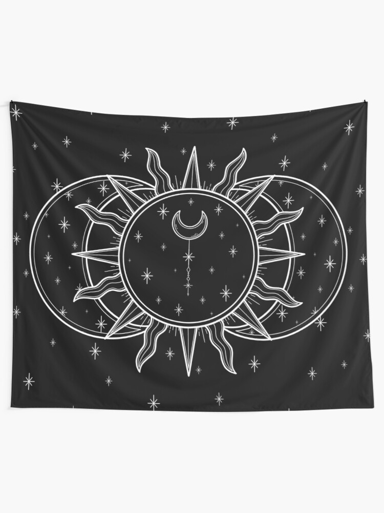 Alternate view of Celestial Sun and Moon and Stars Tapestry
