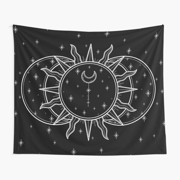 Celestial Sun and Moon and Stars Tapestry