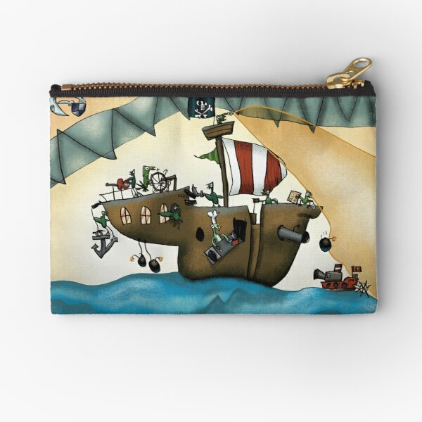 Penguin Pirate Ship Zipper Pouch