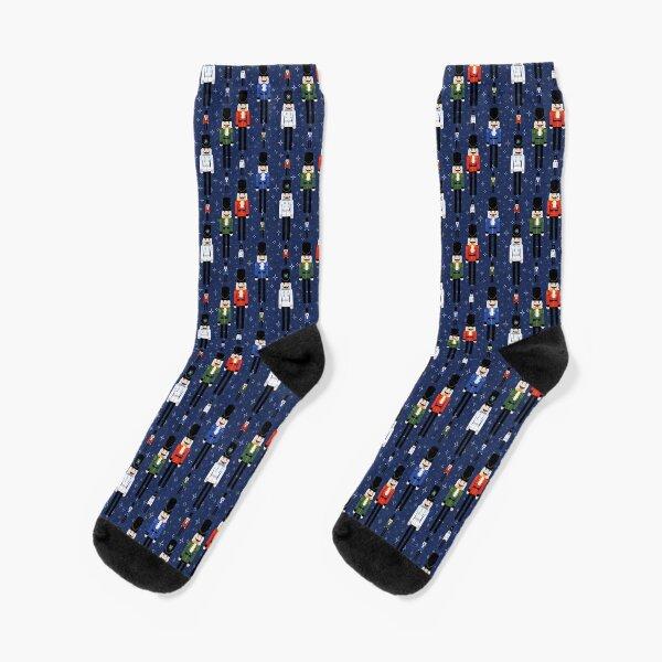 Christmas Nutcracker Soldiers Winter Pattern in Navy Socks