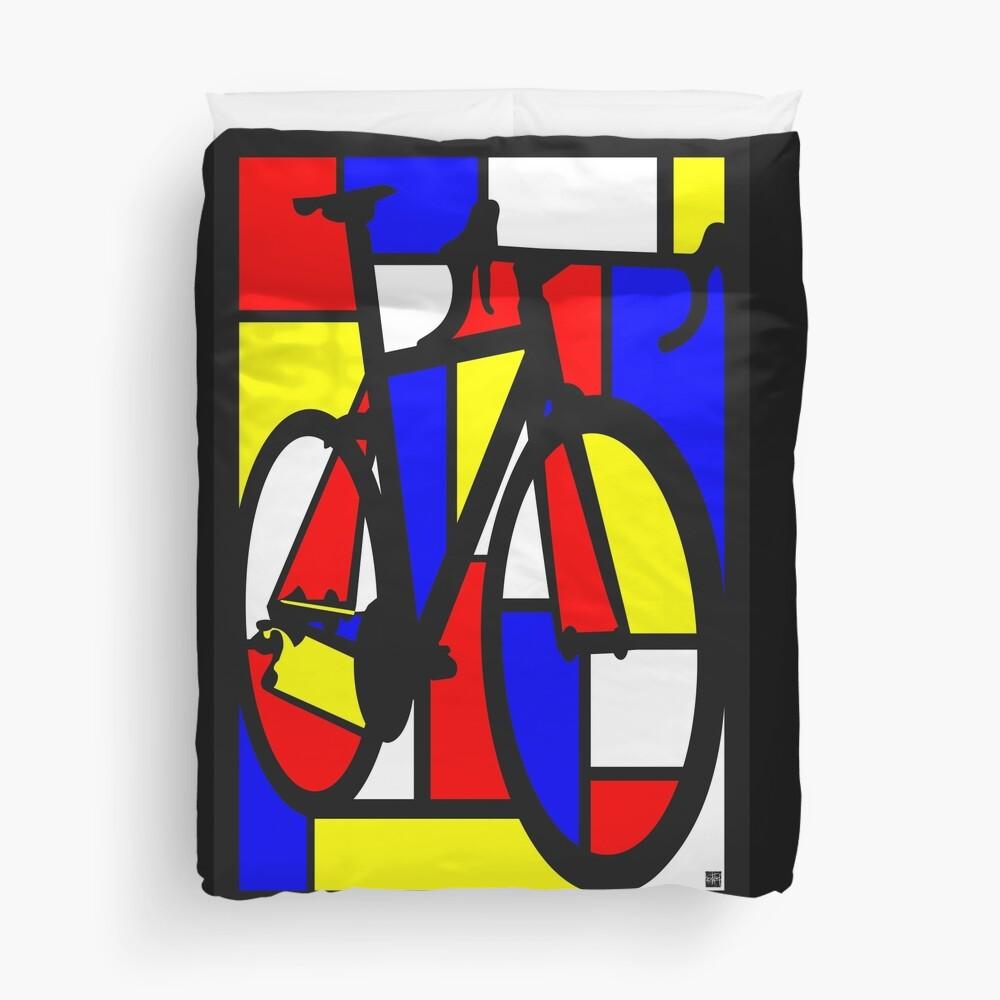 Mondrianesque Road Bike Duvet Cover
