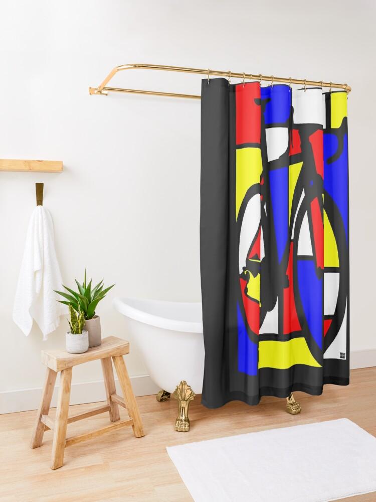 Alternate view of Mondrianesque Road Bike Shower Curtain