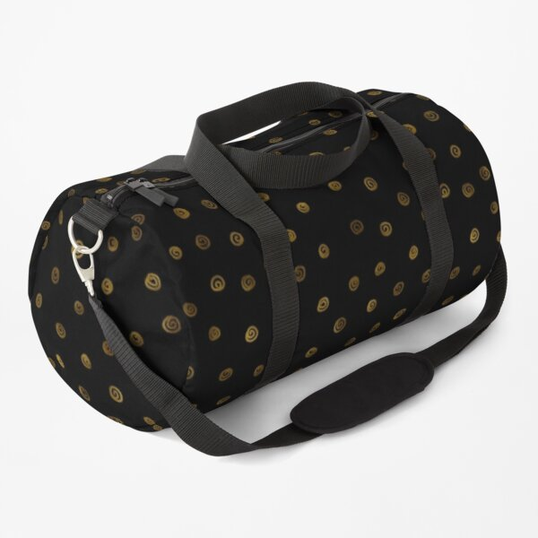 Hand Drawn Spiral Doodle   Gold Black Pattern Duffle Bag