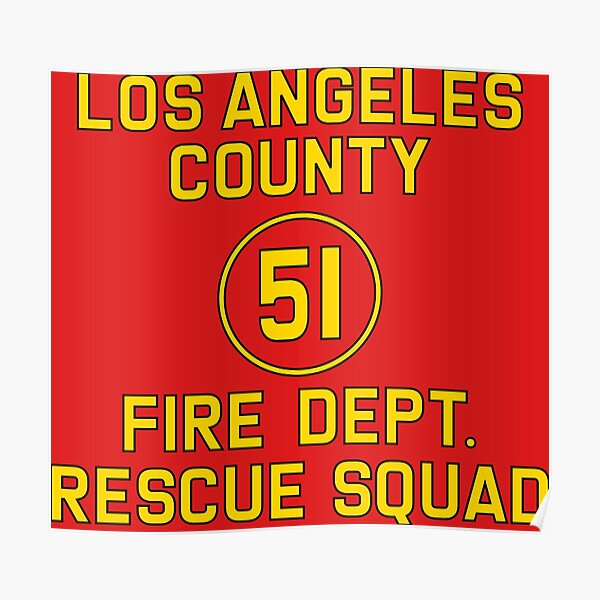 Emergency Squad 51 Side of Truck Reproduction Logo Poster