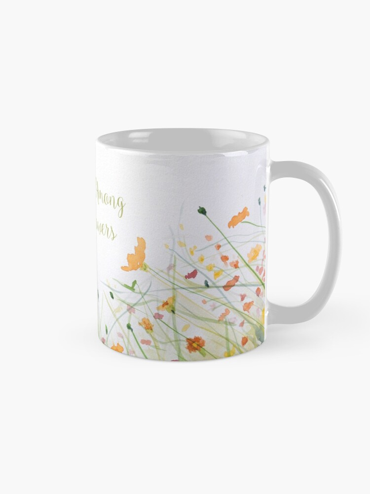 Alternate view of Watercolor Flower Painting with Mint Green Leaves Mug