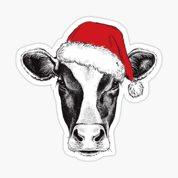 Funny Merry Christmas Cow Sticker