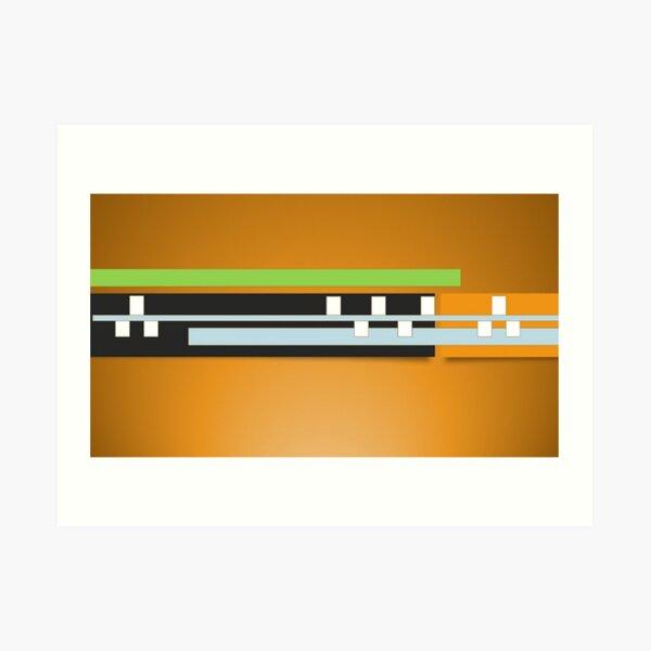 Mustard Black White Green Gray geometric Design Art Print
