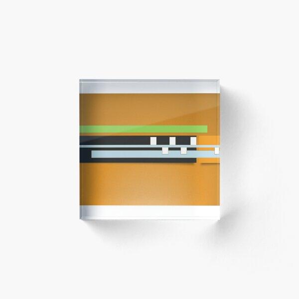 Mustard Black White Green Gray geometric Design Acrylic Block