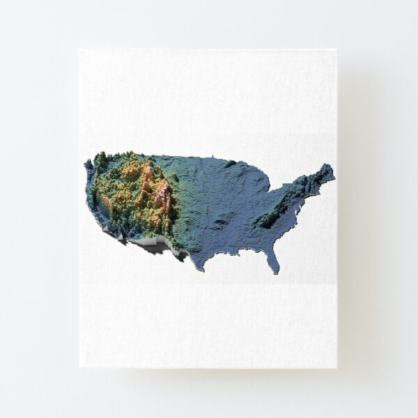 US Elevation Tiles - Digitally Rendered Map Canvas Mounted Print