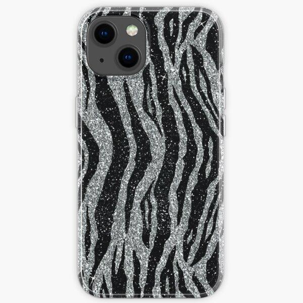 Schwarz und Silber Glitter Zebramuster iPhone Flexible Hülle