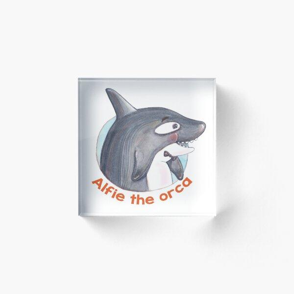 Alfie the Happy Orca Whale Acrylic Block