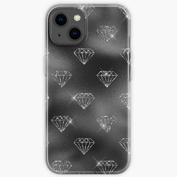 Schwarz und Silber Glitter Diamonds Pattern iPhone Flexible Hülle