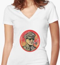 World War II General Corn Cob Pipe Watercolor Women's Fitted V-Neck T-Shirt