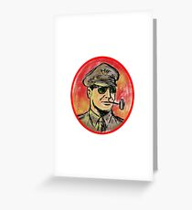 World War II General Corn Cob Pipe Watercolor Greeting Card