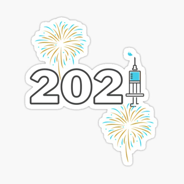 Happy 2021. Covid Virtual Christmas. Vaccine is coming Sticker