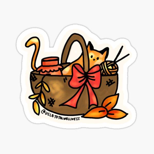 kitty in a basket Sticker
