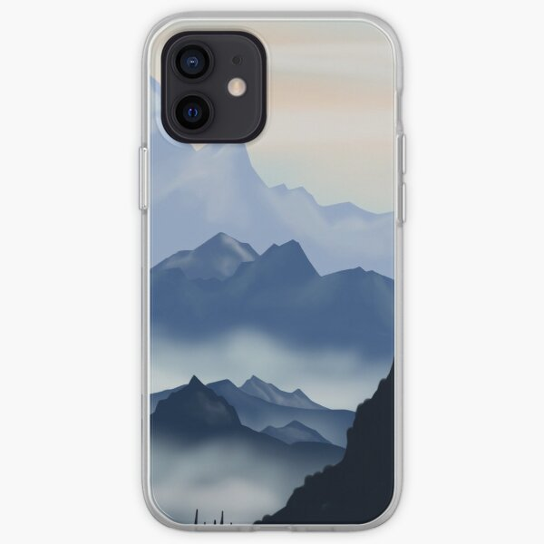 cute mountain misty landscape blue watercolor flat design. Iphone or Samsung phone Case & Cover iPhone Soft Case