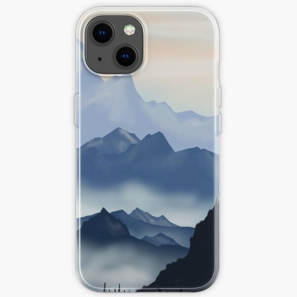 süße Berg nebligen Landschaft blaues Aquarell flaches Design. iPhone- oder Samsung-Handyhülle & Abdeckung iPhone Flexible Hülle