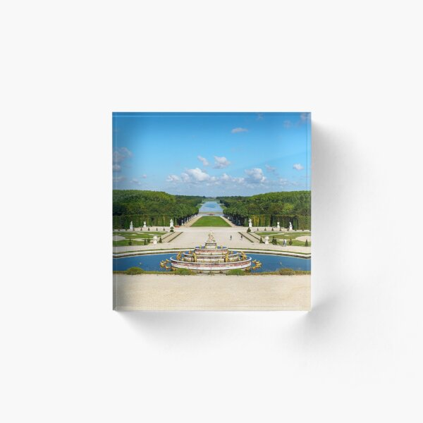 Latona Fountain and Grande Perspective at early morning in Versailles Gardens Acrylic Block