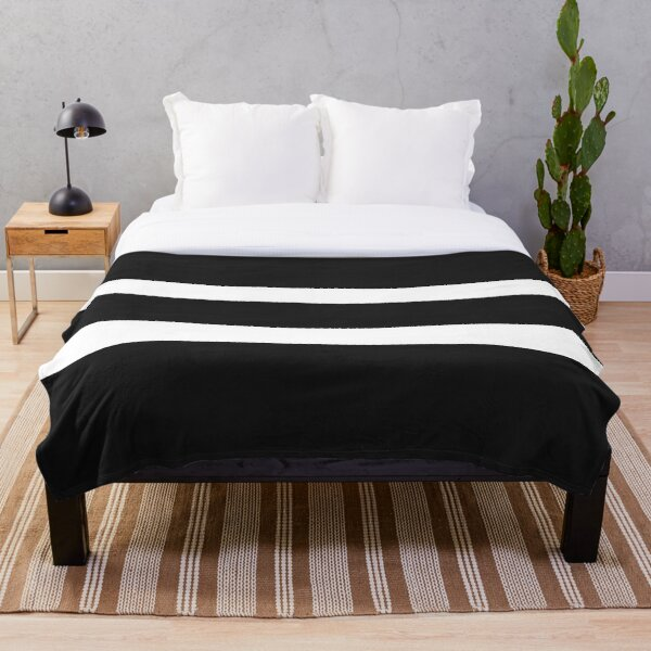 Black and white wide stripes Throw Blanket