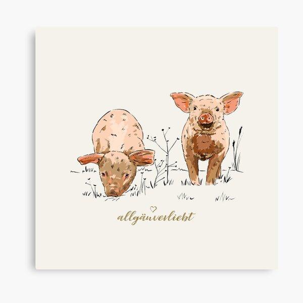 allgäuverliebt – Zwei glückliche Schweine Leinwanddruck