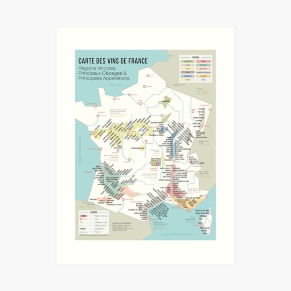 Wine list of France (French) Art Print