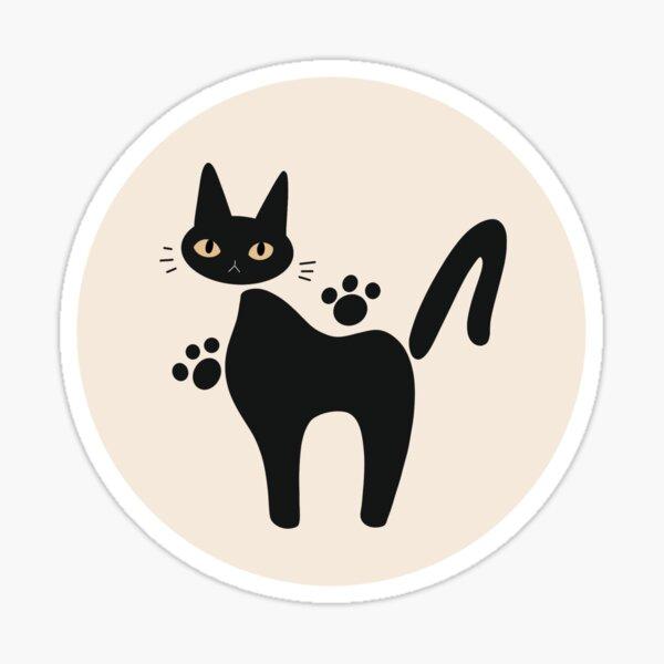 Jiji Cat Circle White Design Sticker