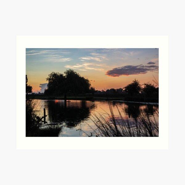 A Tranquil Lake Before Sunrise Art Print