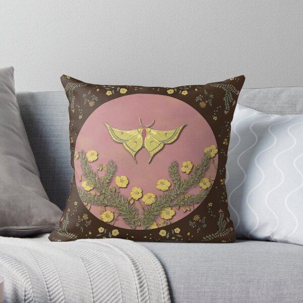 Butterflies & Blooms - Chocolate & Pink Throw Pillow