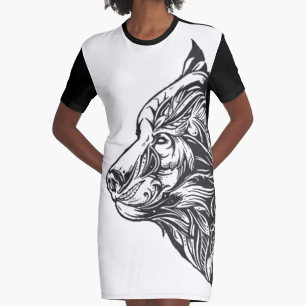 wolf beautiful awesome wolf face  Graphic T-Shirt Dress