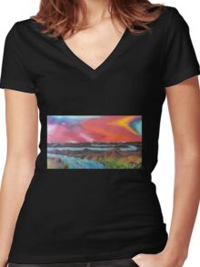 Tranquil Sunset Over Water Women's Fitted V-Neck T-Shirt