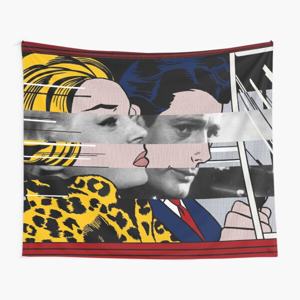 In the car by Roy Lichtenstein and Marcello Mastroianni with Anita Ekberg in the movie in La Dolce Vita Tapestry