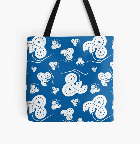 Stitched Ampersand - Blue All Over Print Tote Bag