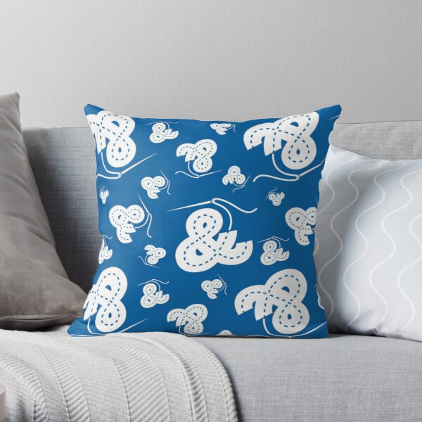Stitched Ampersand - Blue Throw Pillow