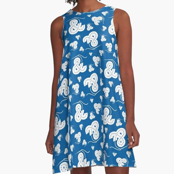 Stitched Ampersand - Blue A-Line Dress