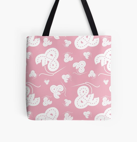 Stitched Ampersand - Light Pink All Over Print Tote Bag