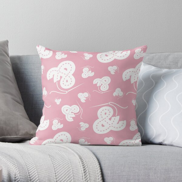 Stitched Ampersand - Light Pink Throw Pillow