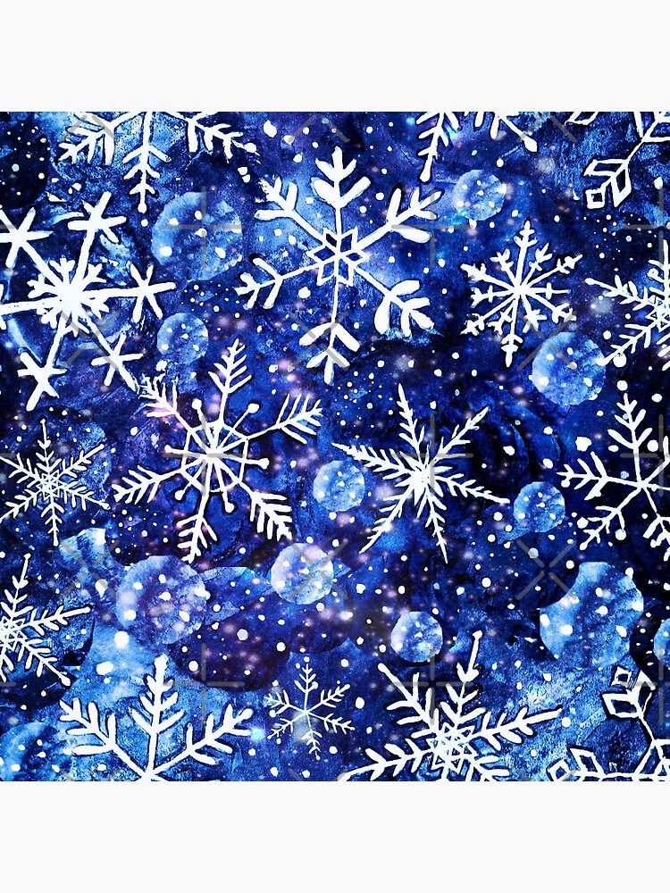 Blue snowflake galaxy, Celestial snowflakes and stars in blue watercolor by MagentaRose