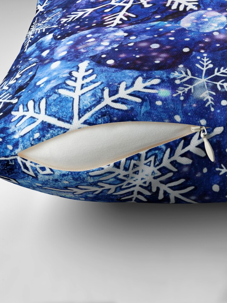 Alternate view of Blue snowflake galaxy, Celestial snowflakes and stars in blue watercolor Throw Pillow
