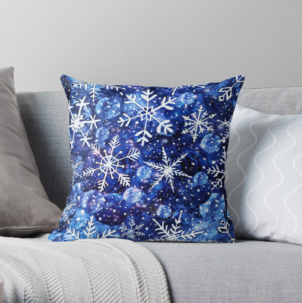 Blue snowflake galaxy, Celestial snowflakes and stars in blue watercolor Throw Pillow