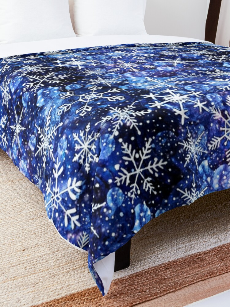Alternate view of Blue snowflake galaxy, Celestial snowflakes and stars in blue watercolor Comforter