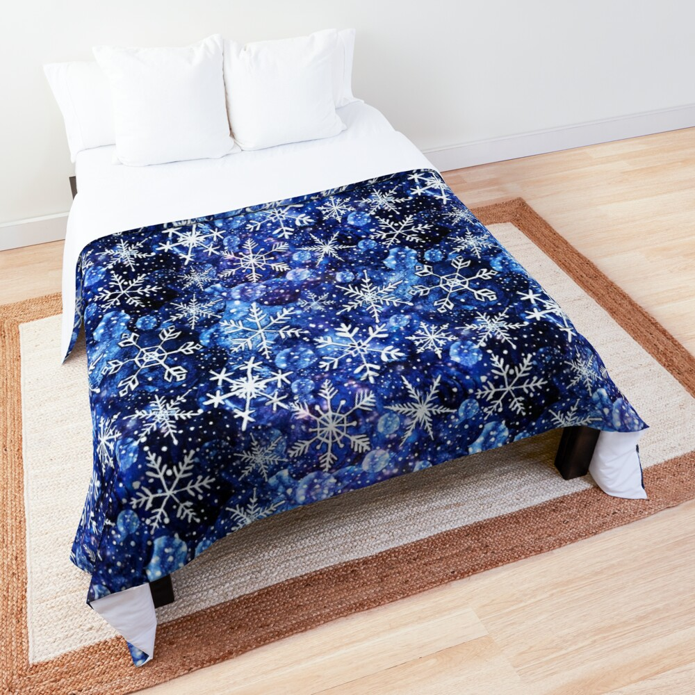 Blue snowflake galaxy, Celestial snowflakes and stars in blue watercolor Comforter