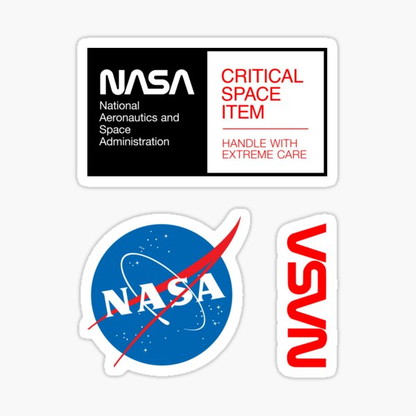 NASA - Critical Space Item (Black) + Meatball & Worm Logos (3 in 1 Multi Pack) Sticker
