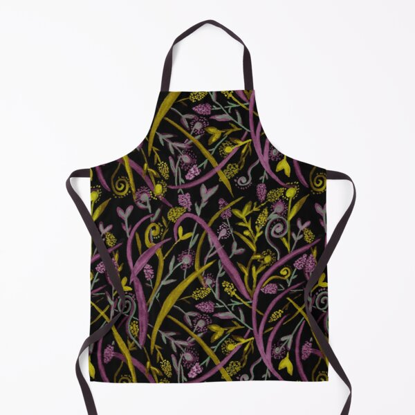 Dark Yellow and Purple Floral Watercolor Seamless Pattern Apron