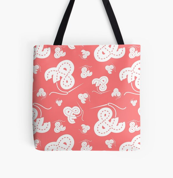Stitched Ampersand - Pink All Over Print Tote Bag