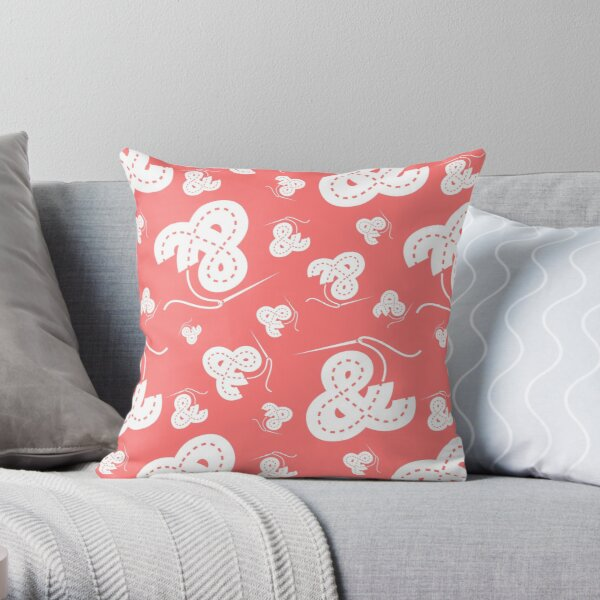 Stitched Ampersand - Pink Throw Pillow