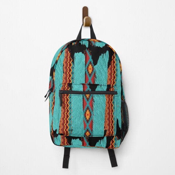 Western Tribal Pattern In Blues And Brown Backpack