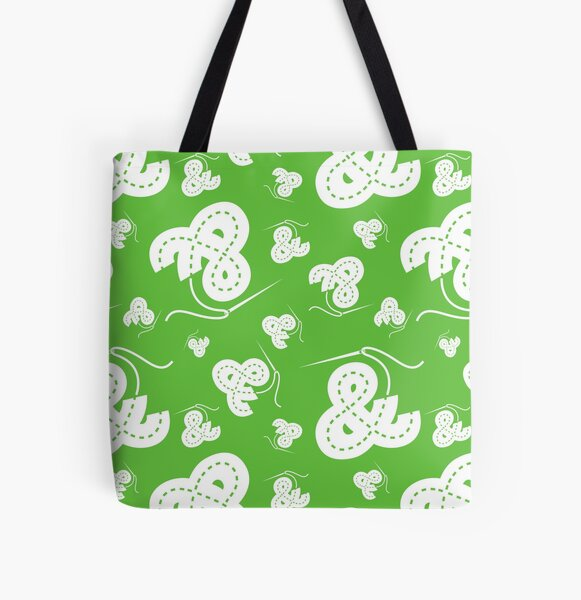 Stitched Ampersand - Lime All Over Print Tote Bag
