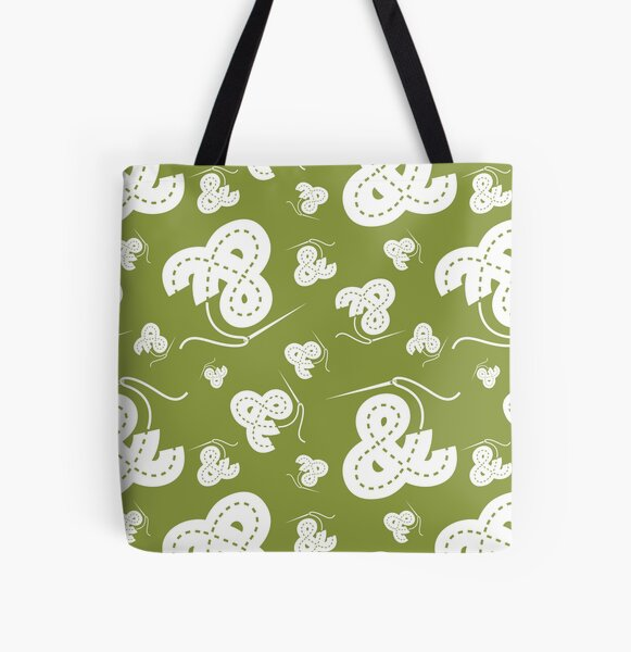 Stitched Ampersand - Olive All Over Print Tote Bag