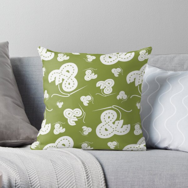 Stitched Ampersand - Olive Throw Pillow